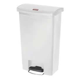 Poubelle à pédale frontale large Slim Jim Step-On Rubbermaid blanche 50L [cw586]