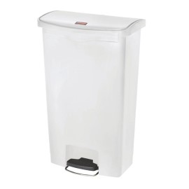Poubelle à pédale frontale large Slim Jim Step-On Rubbermaid blanche 68L [cw590]