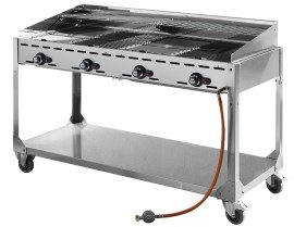 Hendi barbecue green fire 4 brander, verrijdbaar